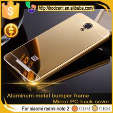 smart phone mirror aluminum metal bumper frame back cover case for xiaomi redmi note 2