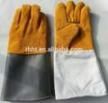 14'' sin forro de gamuza de cuero guantes de soldadura/de manga larga de seguridad de cuero guantes de trabajo