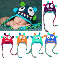 New Design Monster Animal Wool Handmade Photo Props Winter Crochet Baby Hat