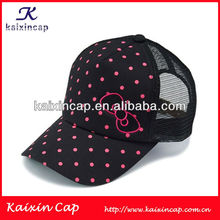 Custom colorful printing dots flat embroidery logo trucker mesh caps/hats