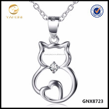 Simple Silver Jewelry 925 Sterling Silver Cat Necklace Lucky Pet Jewelry
