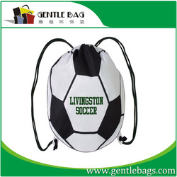 OEM factory supply football foldable drawstring shopping bag 190T polyester cheap price wholesale