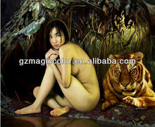 nude art photo sexy lady and animal painting wallpaper murals