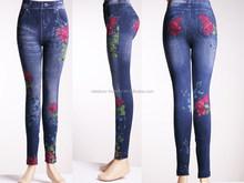 signore jeans slim fashionalbe buona forma floreale leggings stampati con pile super elastico