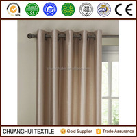 Faux silk lined eyelet curtains in putty cream beige 167cm W x 137cm