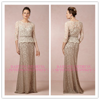 2014 Champagne A-Line Popular Sweetheart Sash Flowers Floor Length Lace Mother of The Bride Dresses With Jacket