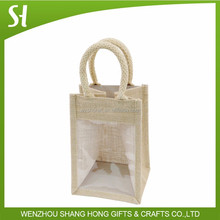 jute personalized gift bag with window