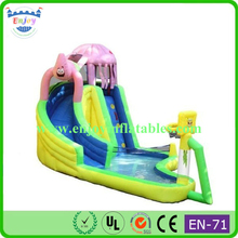 funny SpongeBob inflatable slide with pool, commercial giant Spongebob inflatable water slide with dual lanes