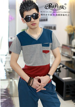 2015 Peijiaxin Latest Design Casual Style Cotton Printed V-eck Dry Fit Plain Men's T-shirt