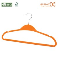 Eisho Hot Sell Clothes Non-Slip Orange ABS Velvet Hangers