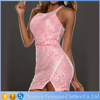 Pink Lace Surface Lined Mini Summer Sleeveless Office Party Bodycon Women Casual Pencil Mini Dress Formal Gowns