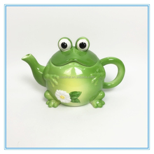 Frog Shape Ceramic Tea Pot Canister Colour Spraying