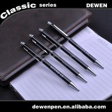 Customized logo twist black metal thin ballpoint pen,hotel pen,cheap gifts pen
