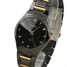 New Mens Unisex Golden Black Strap Classic Value Stainless Steels Fashion Quartz Watch WM240