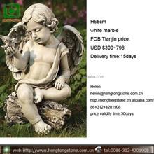 Sitting Cherub Angel with Bird Outdoor Garden Statue