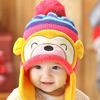 Winter monkey crochet baby hat, earflaps knitted hat