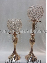 2015 hot sale ! cheap gold crystal candle holders for wedding and party table decoration