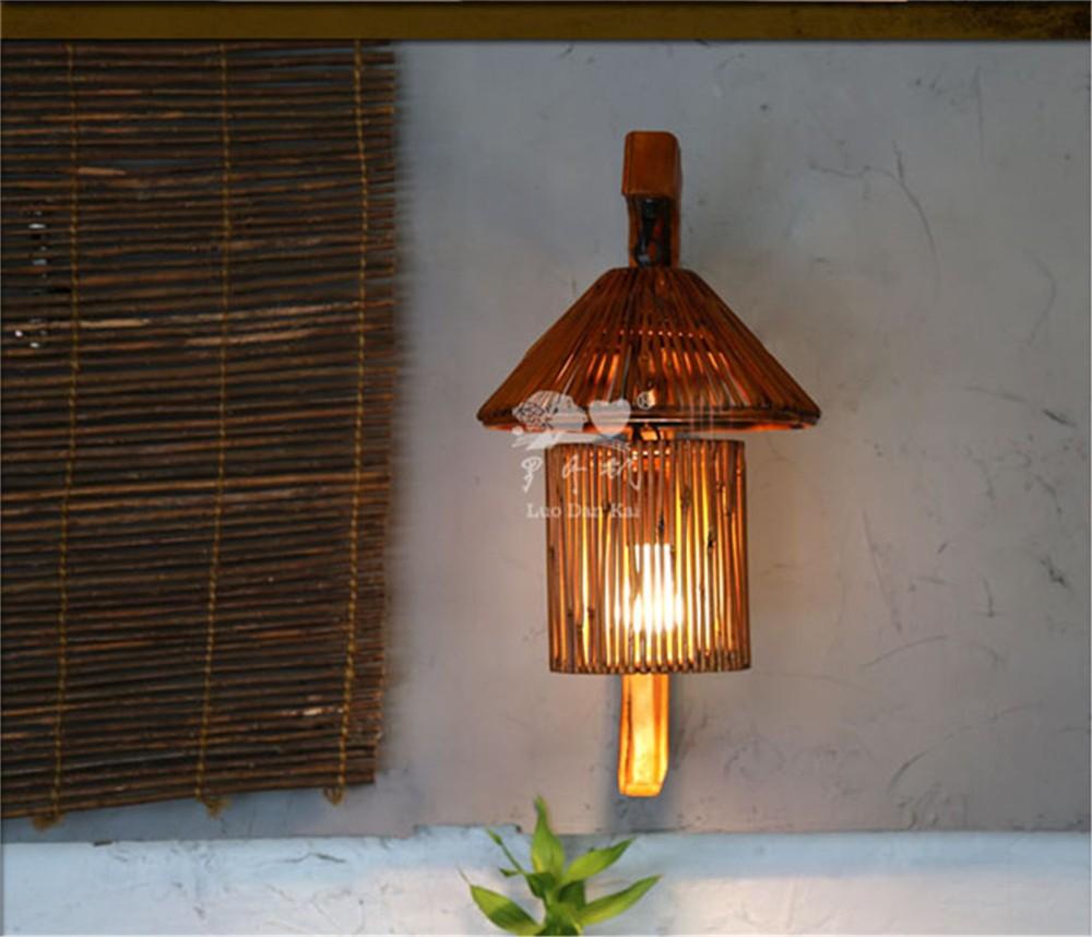 vintage mur mont lampe la main nature bambou luminaire. Black Bedroom Furniture Sets. Home Design Ideas