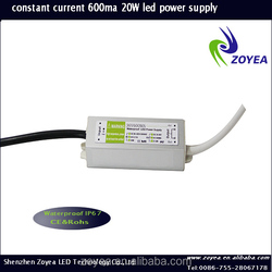 Constant current dimmable LED driver FSC-20 30-36V 600ma 20w IP67 with CE and ROHS approved