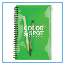 Clear cover pocket spiral bound notebook