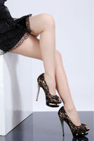 black red lace high heel shoes 2014 3cm platform wedge shoe woman
