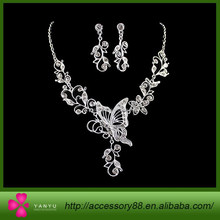 Sterling silver jewelry Color Alloy Jewelry Sets White Rhinestone Butterfly Leaf Pendant Necklace and Wedding Earrings