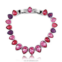 OUXI drop water theme platinum plated alloy&Austrial Crystal beaded bracelet 30012