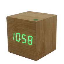 Wake up light western led digital clock USB power/Battery electronic desktop Led wooden alarm clock