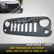 JW Front Head Matte Black Grid Grill, Front Grille Bumper Fit for 2007- up Jeep Wrangler