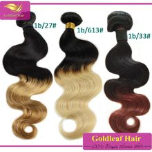 Human hair extensions colored two tone hair weave, colored Brazilian hair weave