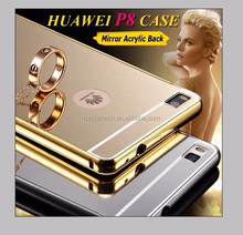 New p8 case Luxury high quality gold plated Aluminum mirror case for huawei ascend p8