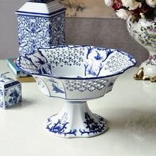 Jingdezhen hand-painted blue & white porcelain fruit compote