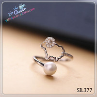 Luck Silver Sheep Animal Cute Lady Woman Party Fashion Simple Tail Ring With Pearl Hot
