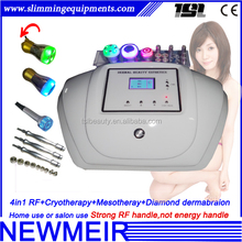 Portable 4in1 bipolar rf cryotherapy microdermabarsion no needle mesotherapy machine
