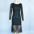 Itália designer black lace manga comprida vestido