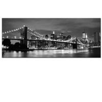 The Manhattan Bridge art painting canvas wall decoration/ City Scene night view canvas art / night view image canvas printing