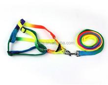 Wholesale High-quality Rainbow Pet Collar Leash / Pet Collars Rainbow Colorful Pet Collar+Leash Set