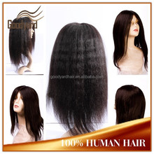 Top quality Natural hairline no tangle yaki Brazilian Human Hair Full lace wig