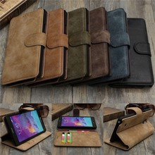 Vintage Wallet Leather Case for Samsung Galaxy Note 4 N9100 with Stand and Card Holder Phone Bag Luxury Flip Cover