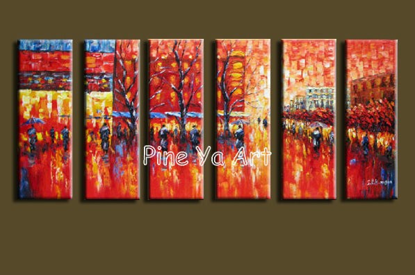 Buy Huge Muti Panel abstract modern canvas wall handpainted Palette Knife paint oil painting on canvas for living room decoration cheap