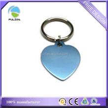 custom light blue heart anodized aluminum metal blank engrave keychain