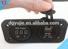 Usb Power Outlet Car Adapter 12V Battery Meter Digital Voltage For Motor Bike