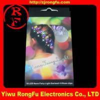 hair decoration Fiber Optic flashing rose hair light up LED rose hair glow in the dark