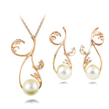 2015 new European and American manufacturers, wholesale fashion big exaggeration hollow diamond pearl earrings + necklace