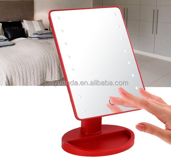 touch sensor switch bathroom makeup mirror with led lights lighted led table mirror vanity. Black Bedroom Furniture Sets. Home Design Ideas