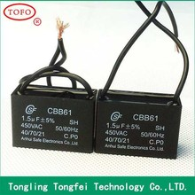 big volume orders A class heat resisting cbb61 1uf capacitor 450v for fan motor compliant