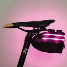Motorcycle Bike Bicycle Cycling Wedge Pack Saddle Seat Bag Black with LED Light