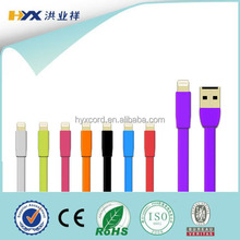 Hot Selling Colorful Flat MFI Cable to 8pin usb data noodle cable for iphone 5s/6/6 plus with mfi certified cables