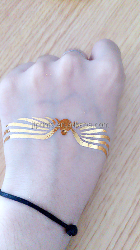 Customized gold silver foil tattoo fake temporary tattoos for Gold foil tattoo