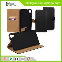 good quality book style genuine pu leather mobile phone case for HTC D820